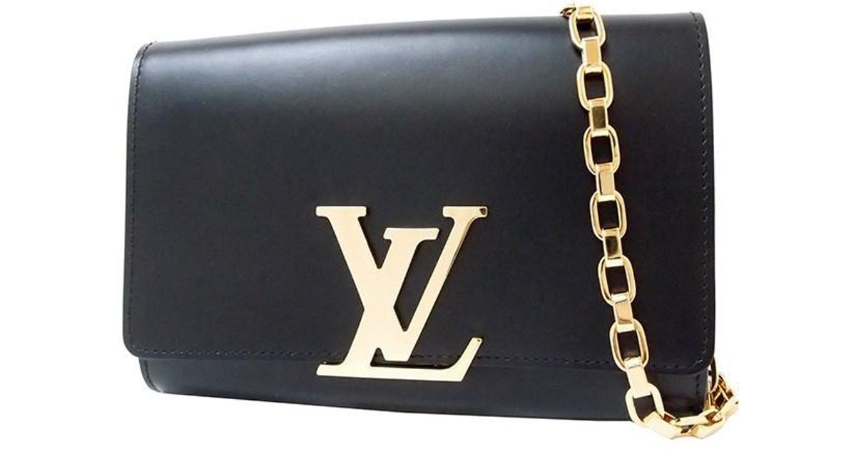 9c596447b4e0 Lyst - Louis Vuitton Louise Gm Calf-leather Black Clutch Bag Shoulder Bag   used  in Black