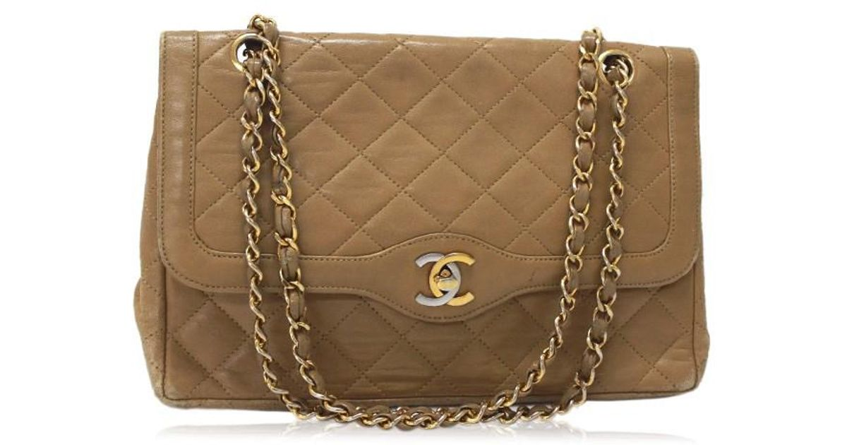 21f145694cf1 Chanel Paris Limited Lambskin Leather Matelasse Double Chain Shoulder Bag  Beige in Natural - Lyst