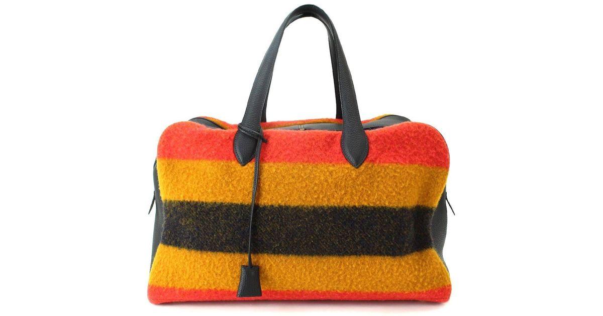 2df123bf4065 Lyst - Hermès Victoria 43 Rocabar Boston Bag Wool Leather Purse 90040272..  in Orange