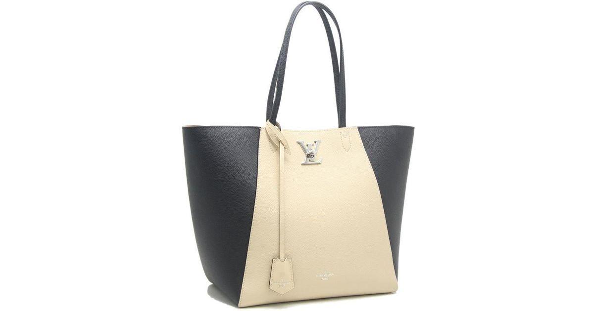 7c5ea852f9a4 Lyst - Louis Vuitton Lockme Cabas Tote Bag M42289 Vanilla Noir  58988 in  Natural