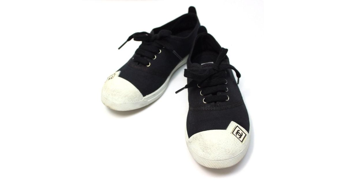 54ff496e576 Lyst - Chanel Low-cut Sneaker Shoes Shoes Sneakers Black Canvas  Printed  Size  35 in Black for Men