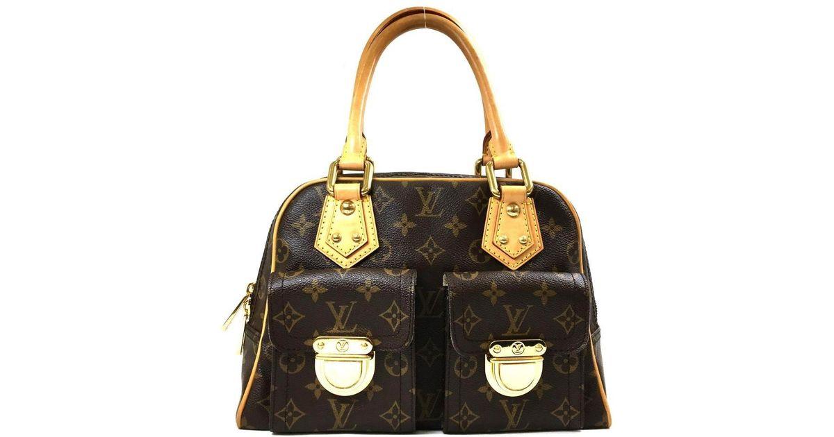 e9275b7107d8 Lyst - Louis Vuitton Authentic Manhattan Pm Handbag Bag Monogram Canvas  M40026 in Brown