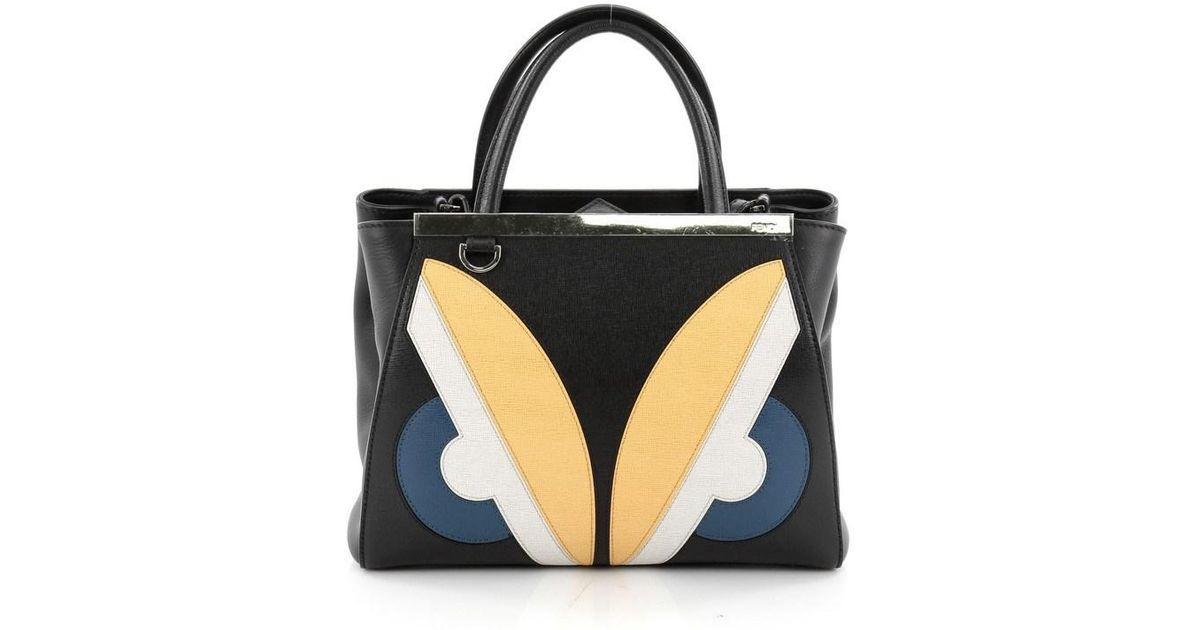Lyst - Fendi 2jours Monster Handbag Calfskin Petite in Black fb458f639be69