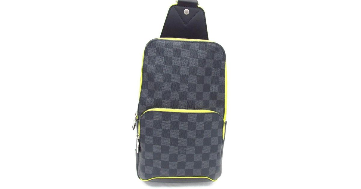 46641151f Louis Vuitton Avenue Sling Body Bag N42424 Damier Graphite leather Gray  Jaune in Gray for Men - Lyst