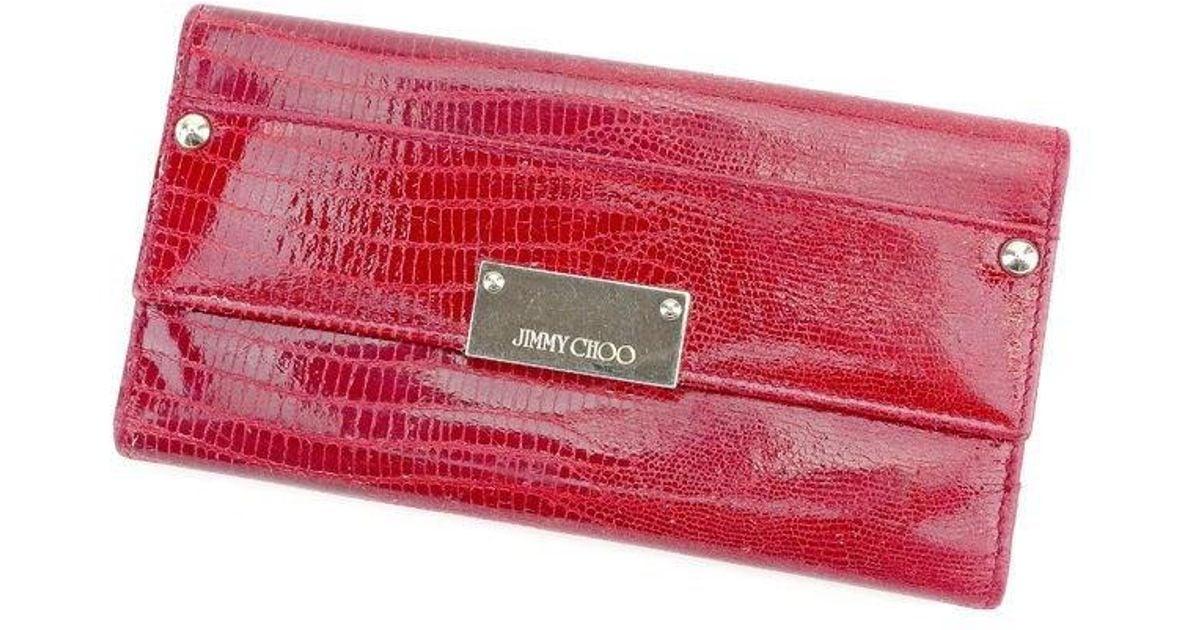 Lyst - Jimmy Choo Wallet Lizard Print Ladies Used T1582 in Red 3201034546