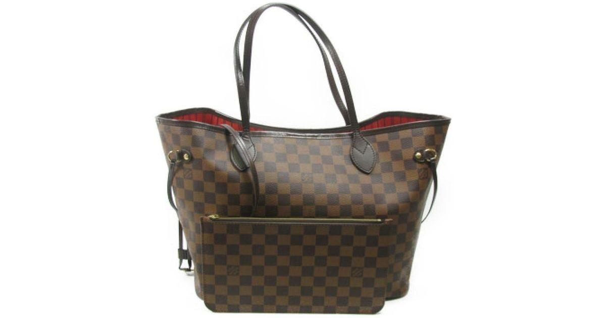 71d147467111 Lyst - Louis Vuitton Neverfull Mm Shoulder Tote Bag Damier Ebene Canvas  N41358 in Brown