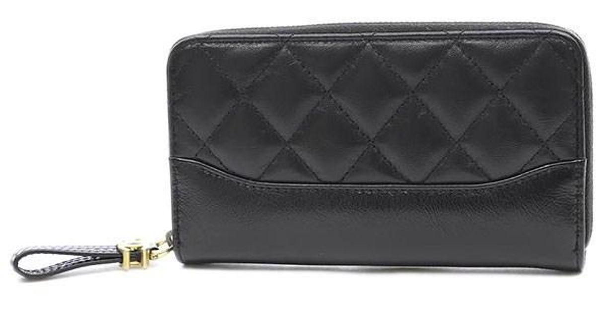 e859e28ff0ac Chanel Gabriel Small Zip Wallet In Wallet Calfskin Black A 84405 in Black -  Lyst