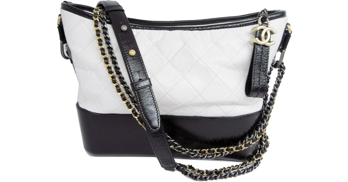 78e41b81f39bcd Chanel Gabrielle Hobo Bag Black White Leather in Black - Lyst