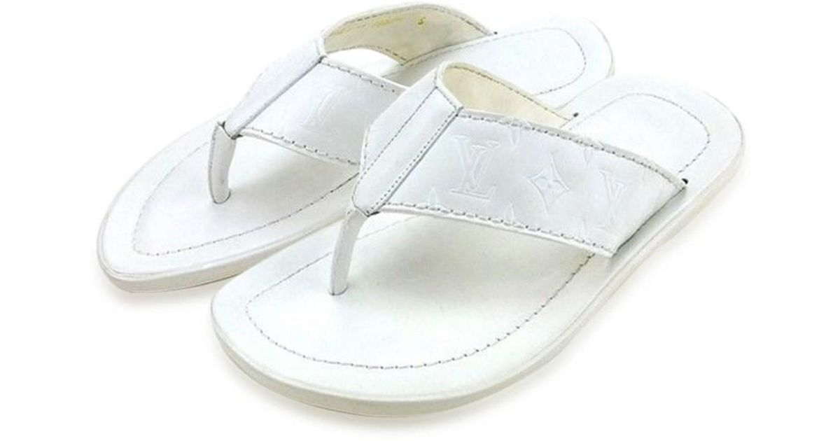 30ec3fcc1445 Lyst - Louis Vuitton Sandals Monogram Men Used T4361 in White