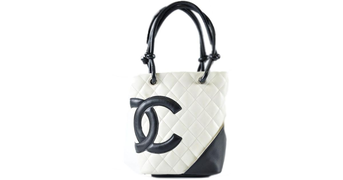 4b4239df47b Lyst - Chanel White   Black Quilted Ligne Cambon Small Tote Bag in Black