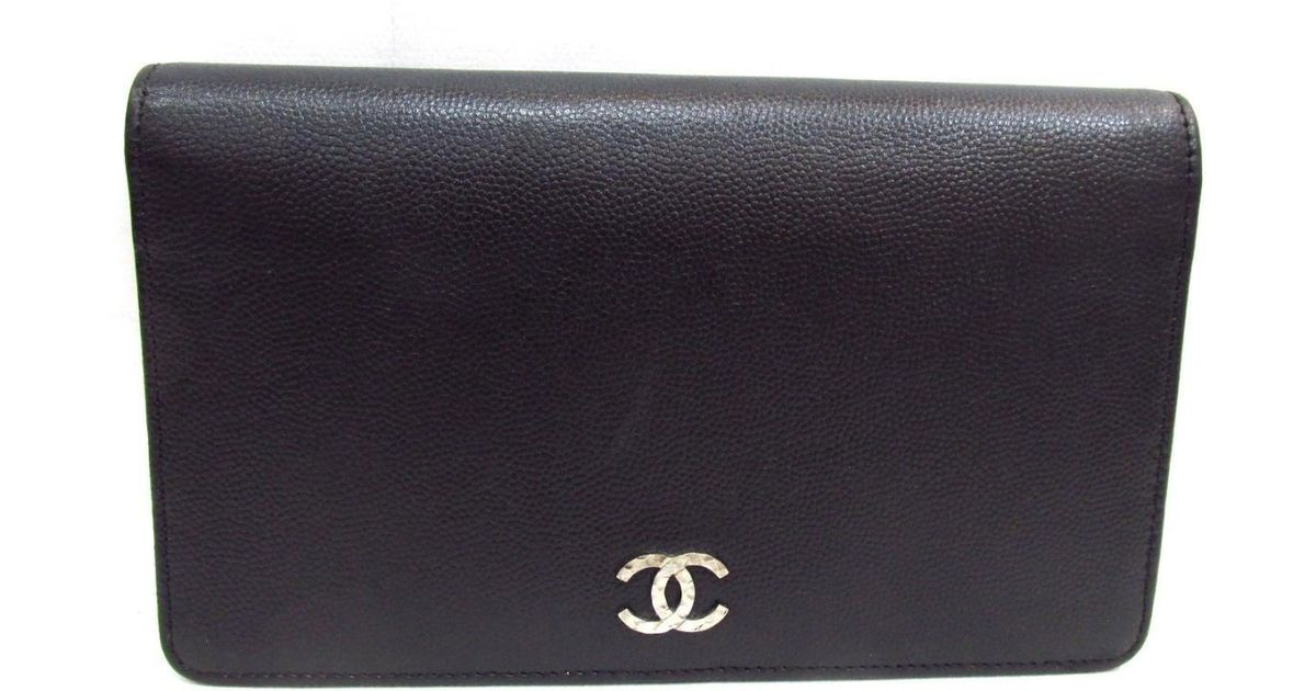 9fbf167c9b51 Lyst - Chanel Zip Long Wallet Two Fold Wallet Goat Skin Leather Black in  Black