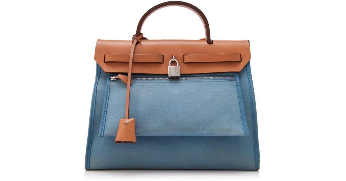 fdc04647b618 get hermes blue canvas and natural calfskin leather herbag zip pm bag 9ef55  9b19d  get lyst hermès pre owned hermés herbag zip 31 in blue ed160 720f7
