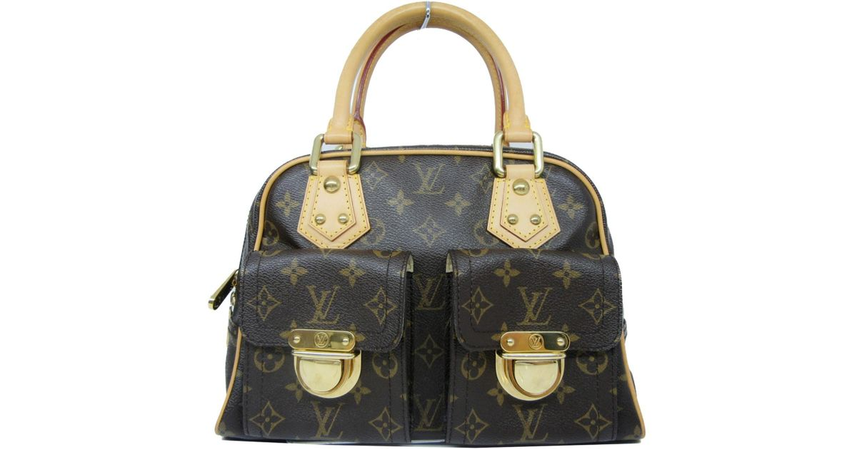 Lyst - Louis Vuitton Auth Monogram Manhattan Pm Satchel Handbag M40026 in  Brown a5f5ef41f0