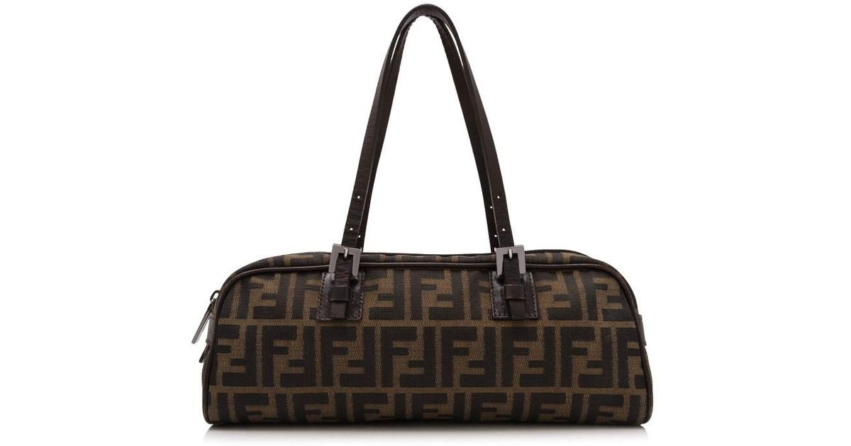 d1f2179966b5 Lyst - Fendi Pre-owned Zucca Top Handle Bag in Brown