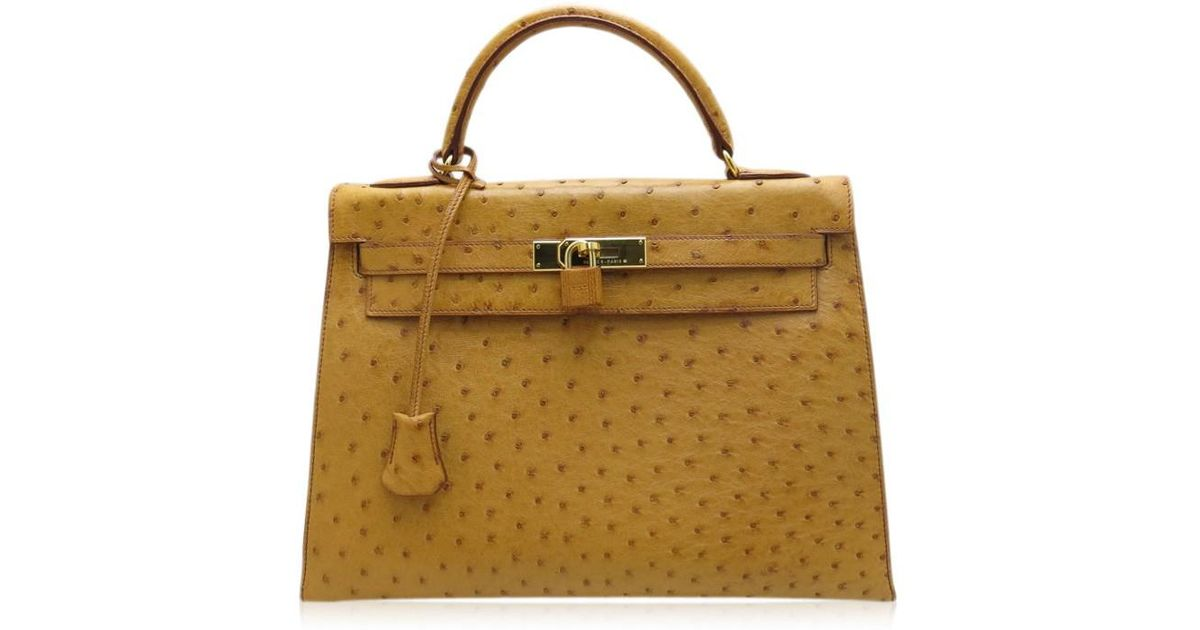 137d5433b52d ... france lyst hermès hermès kelly 32 camel gold hardware ostrich c  marking in brown 23d90 85e14