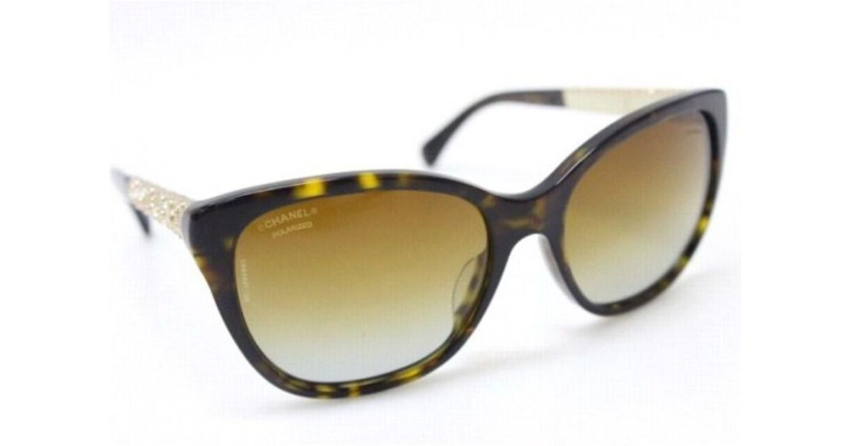 58f12c4686a Lyst - Chanel Rhinestone Sunglasses Brown And Gold Based 5299-b-a in Brown