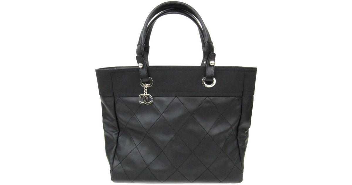 2815ca933397 Lyst - Chanel Paris Biarritz Mm Tote Bag Quilted Coated Canvas Black in  Black