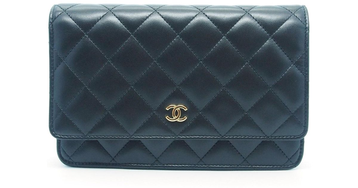 4ac773c9dba6c4 Chanel Black Quilted Lambskin Leather Wallet On Chain - Best Quilt ...