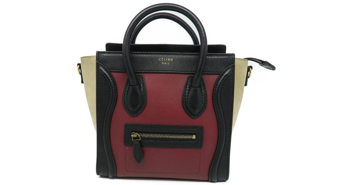 fb01b7ca162 Lyst - Céline Calfskin Leather Nano Luggage Shoulder Tote Bag Red  Black  8337 in Red