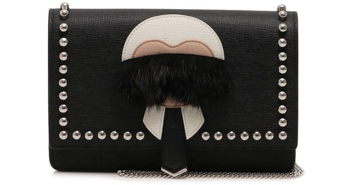 3f937e78b9da promo code for lyst fendi karlito karl chain wallet purse calf leather mink  fur black white