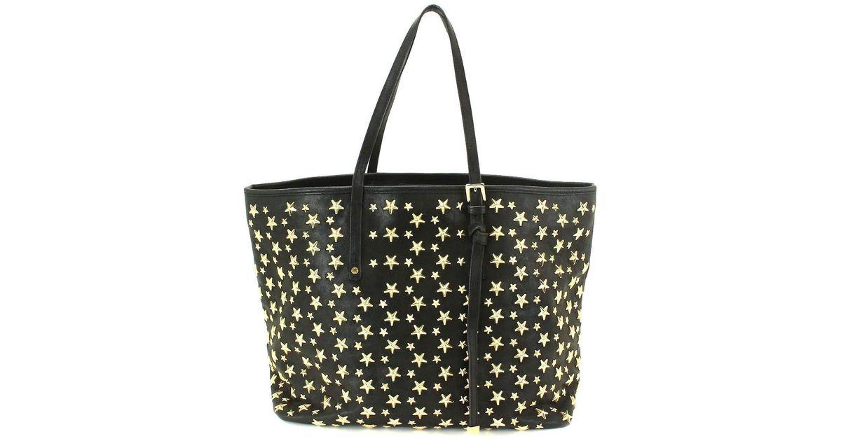 Lyst Jimmy Choo Sasha M Star Studs Tote Bag Leather Black Purse 90034101 In