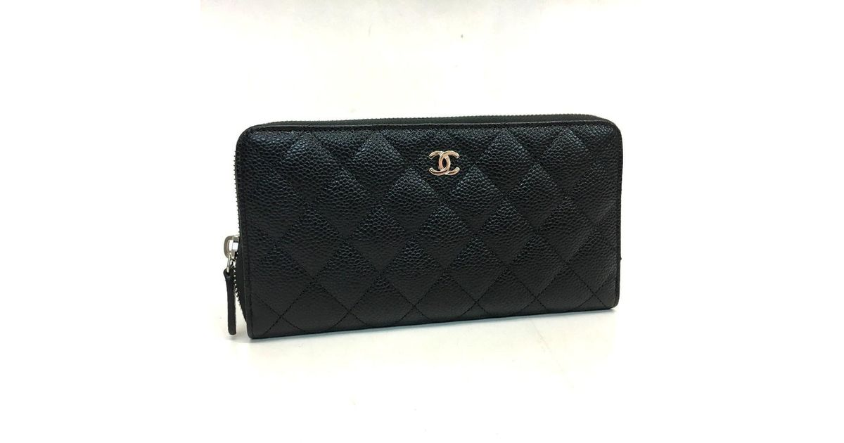 78e8140b0bf6 Chanel Unused! Cc Mark Caviar Leather Zip Around Long Wallet Black A50097  in Black - Lyst