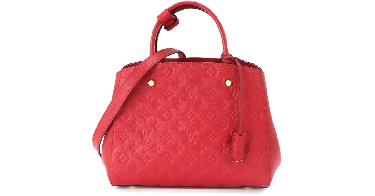 4e090b5441e4 Lyst - Louis Vuitton Empreinte Leather Montaigne Mm Hand 2way Bag  90042860.. in Red