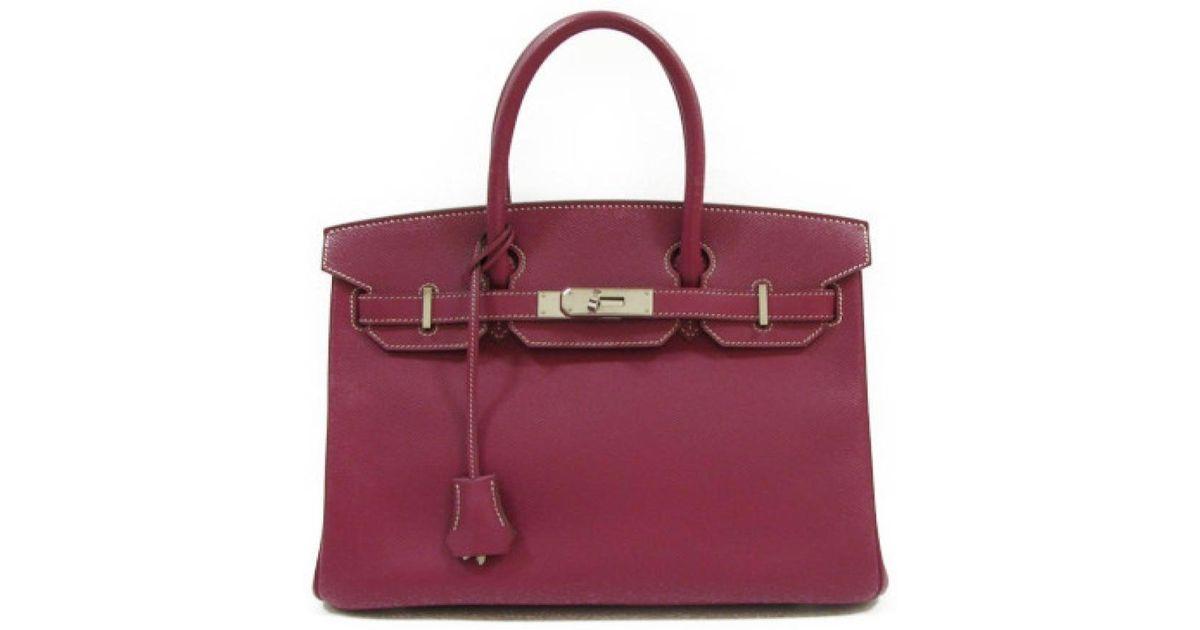 058c38f9cd37 Lyst - Hermès Candy Birkin 30 Handbag Leather Veau Epsom Tosca Purple rose  Tyrien Pink in Purple
