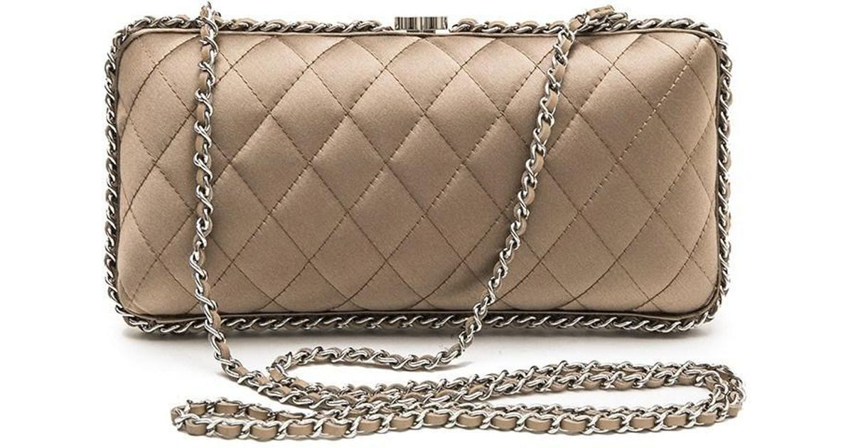75bd34f54209 Lyst Chanel Evening Clutch In Gquilted Golden Beige Silk Satin. Chanel  Satin Bow Evening Bag ...