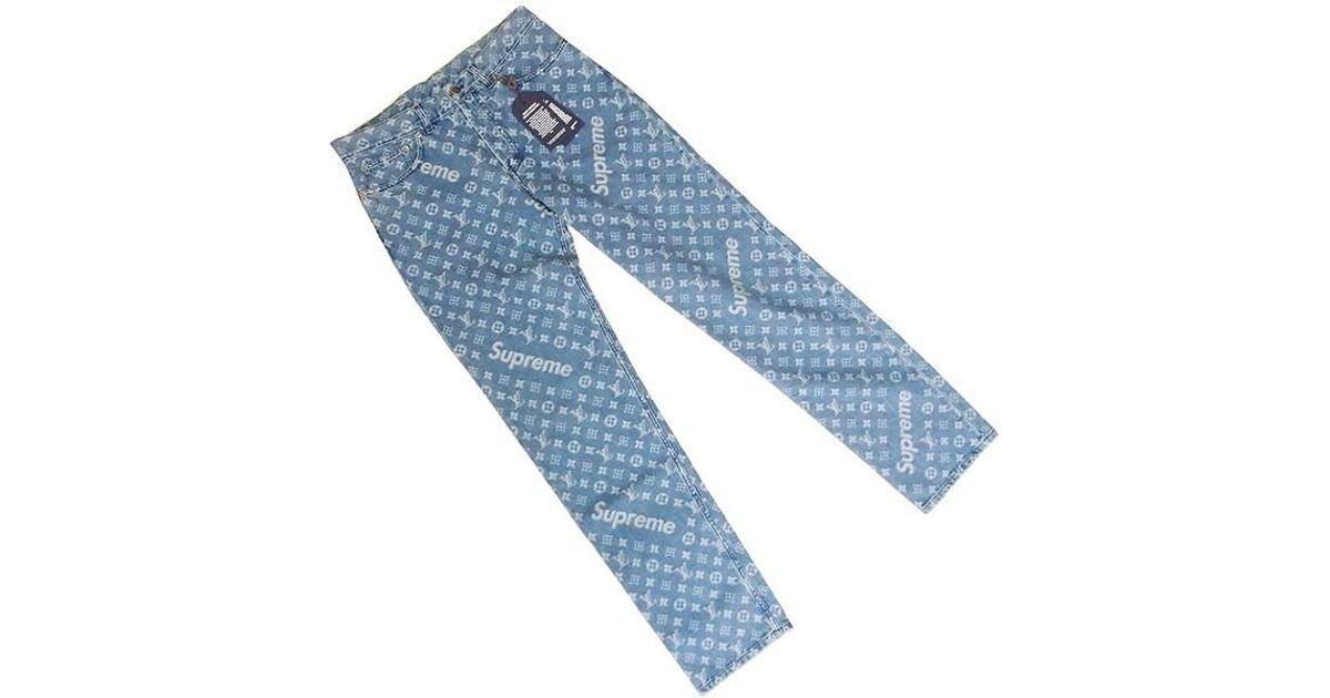 8d59d54a55 Lyst - Louis Vuitton X Supreme Denim Bottoms Indigo Blue  32 Men s  new  in  Blue for Men