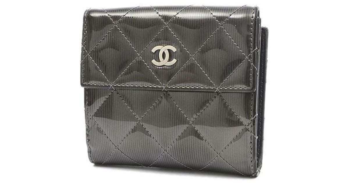 f84dbc1b0dbc Lyst - Chanel Coco Mark Stripe Double Sided Wallet Patent Metallic Gray in  Gray