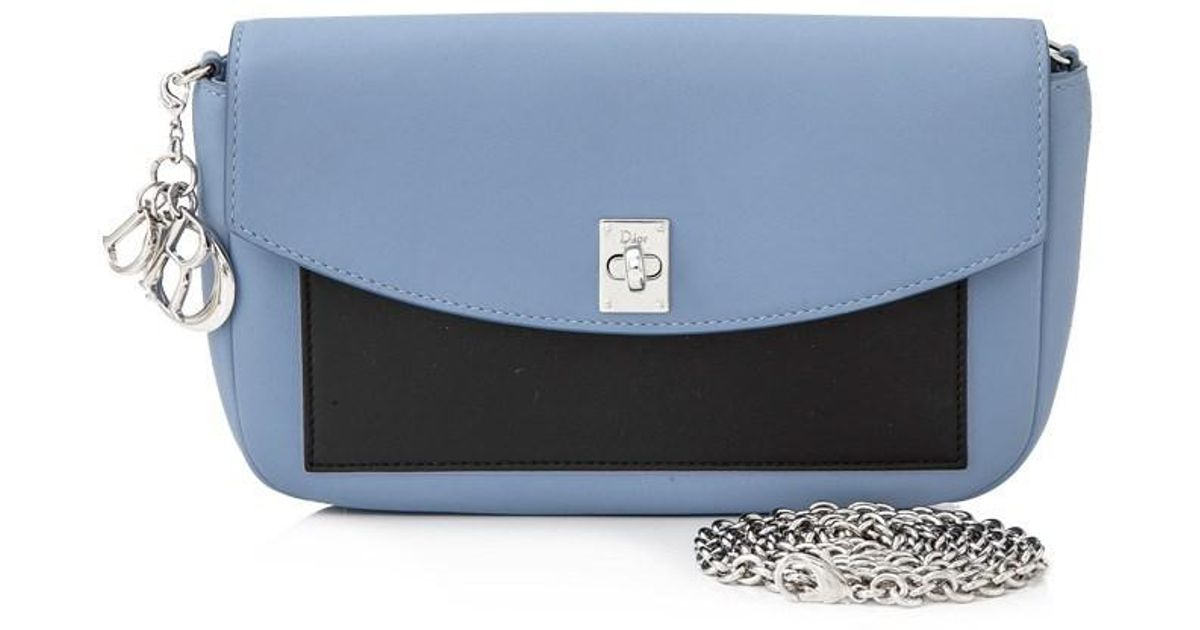 Lyst - Dior Pre-owned Christian Leather Sling Bag in Blue 39c3c319aa7f7