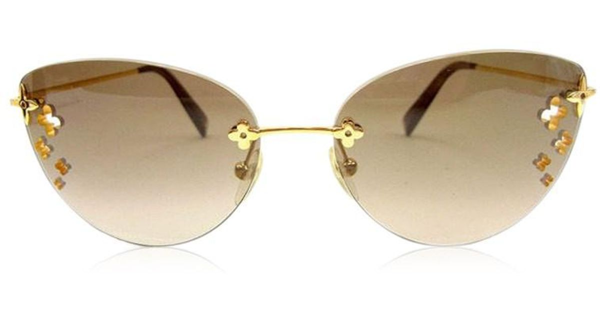 77e69bd3e5a0 Lyst - Louis Vuitton Sunglasses Cat Eye Womens Used T524 in Brown