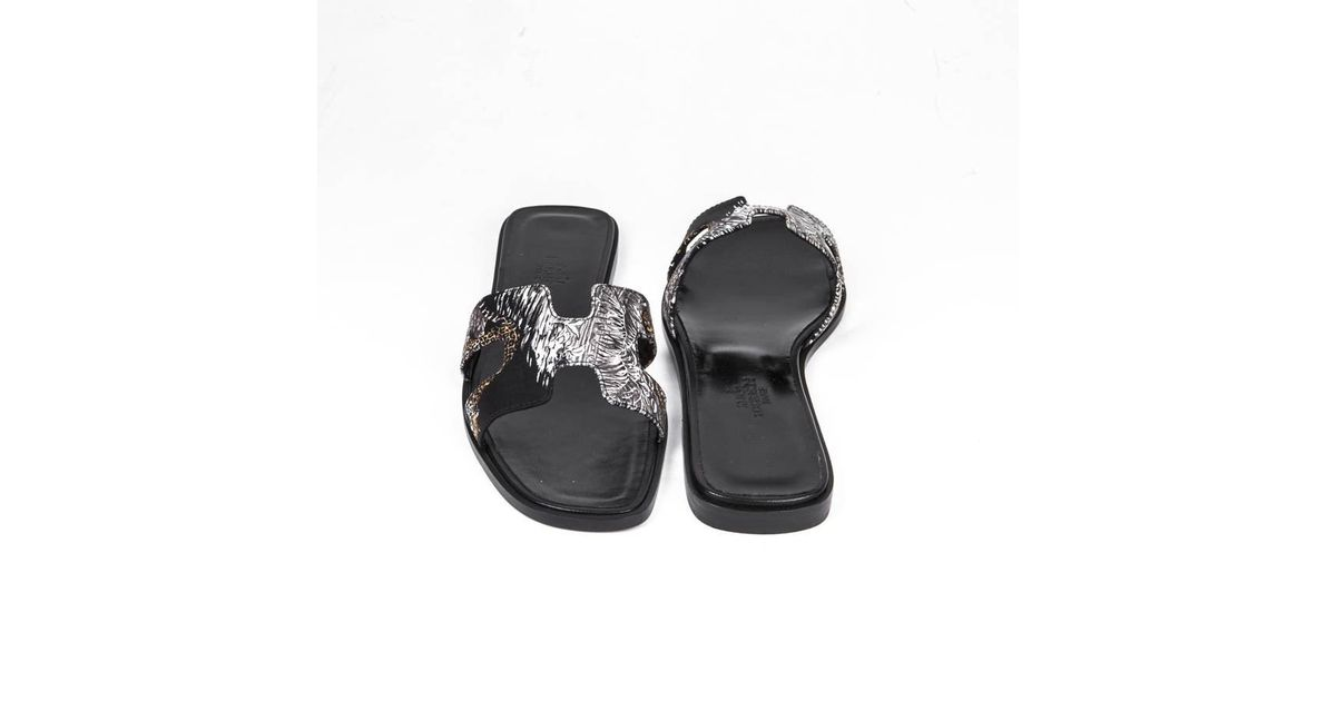 10f9210596 Hermès 'oran' Sandals In Printed Silk Size 37fr in Natural - Lyst