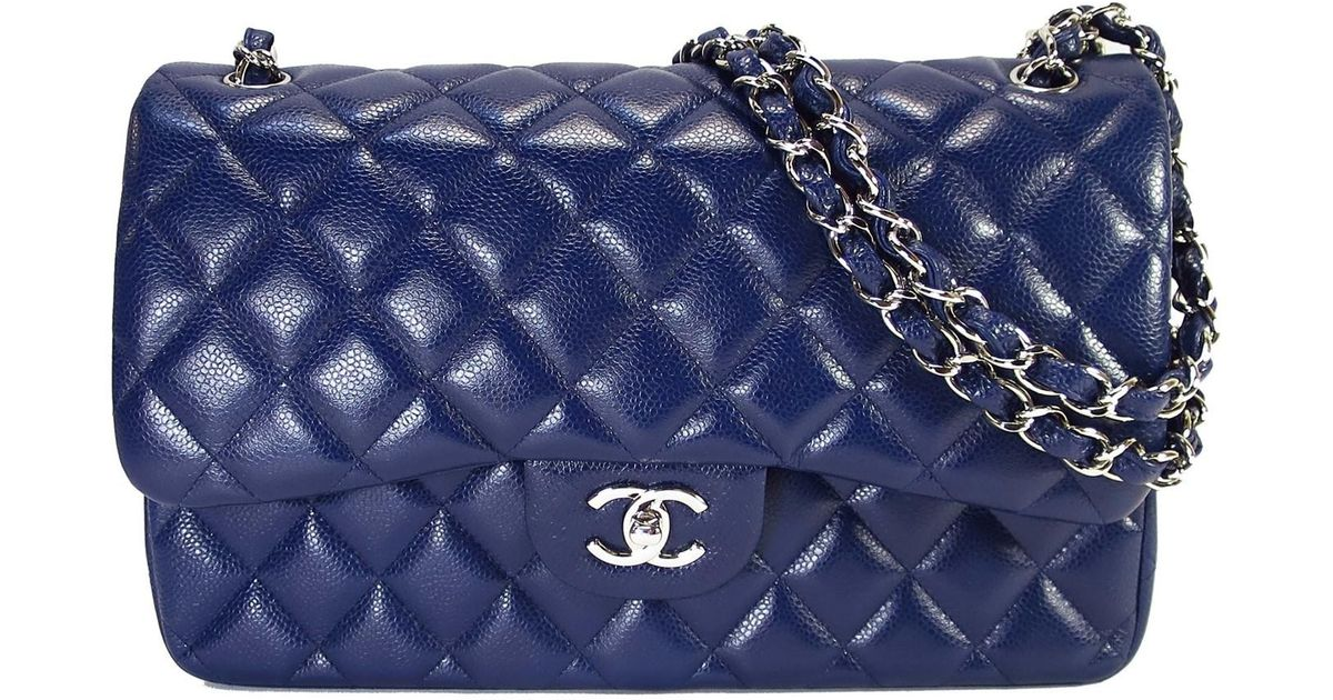 3da46e4443fc Chanel Jumbo Classic Double Flap Shoulder Hand Bag Blue Caviar Leather in  Blue - Lyst