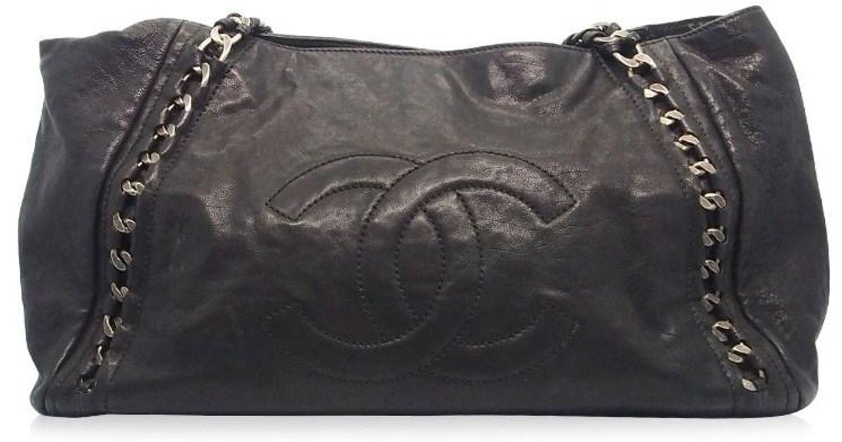 012505384358 Chanel Authentic Black Distressed Leather Modern Chain Tote Bag 17026261ck  in Black - Lyst
