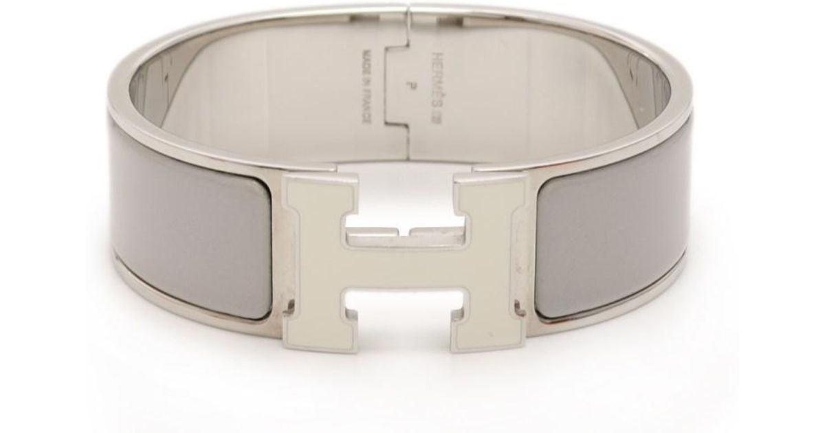 e1e9ec4aa21 Lyst - Hermès Click Crack Gm Bangle Metal Silver Gray in Metallic