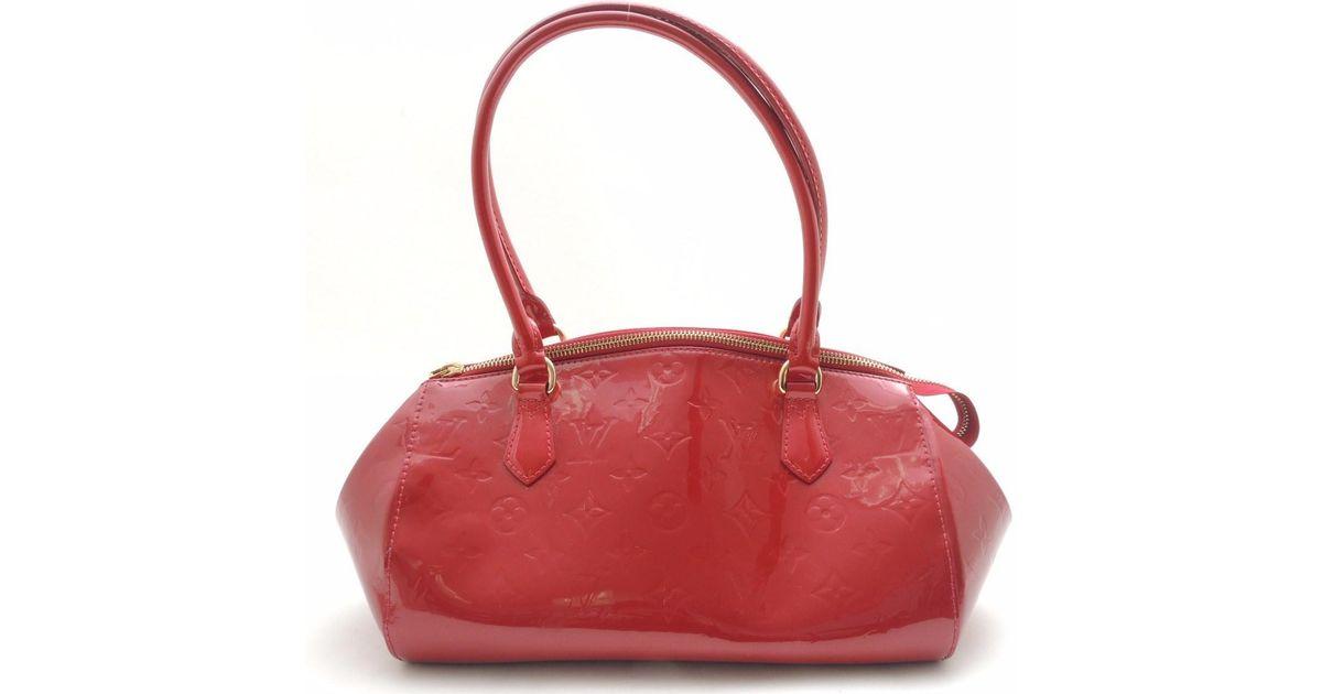 49f319c009d4 Lyst - Louis Vuitton Vernis Leather Sherwood Pm Pomdamir Handbag M 91494 in  Red