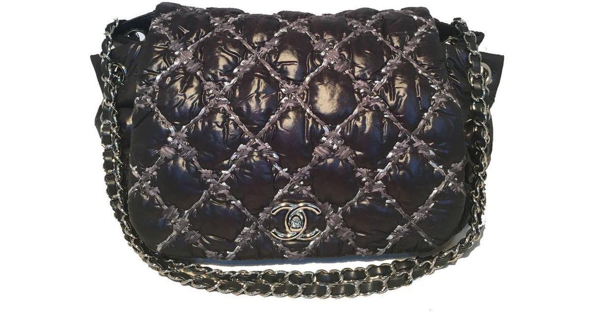 ea6481dc6dc5de Chanel Puffy Black Nylon Raincoat Classic Flap Shoulder Bag in Black - Lyst