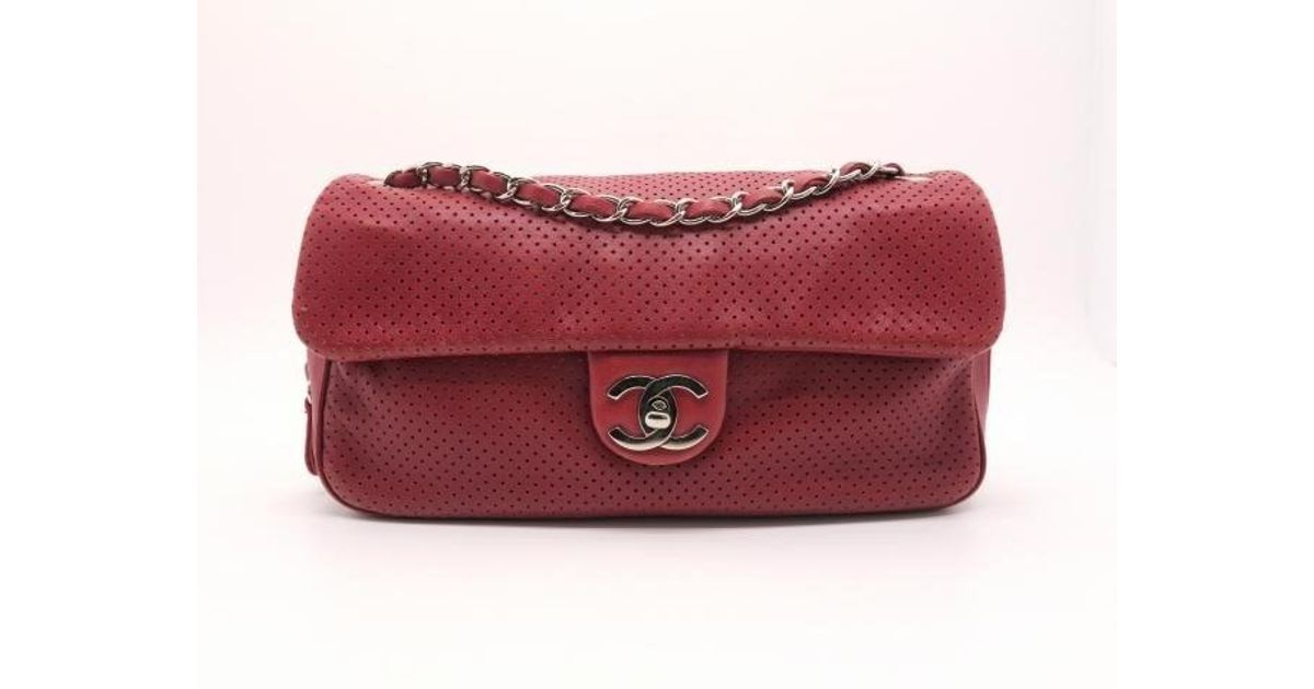 447f64e41180 Lyst - Chanel Lambskin Leather Silver Metal Chain Shoulder Bag Dark Red in  Red