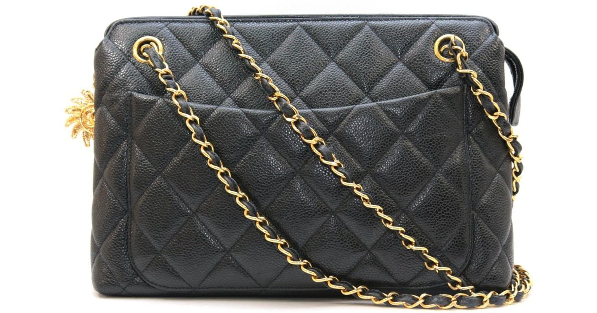 dda28457d5 Lyst - Chanel Chain Shoulder Bag Quilted Caviar Leather Black in Black