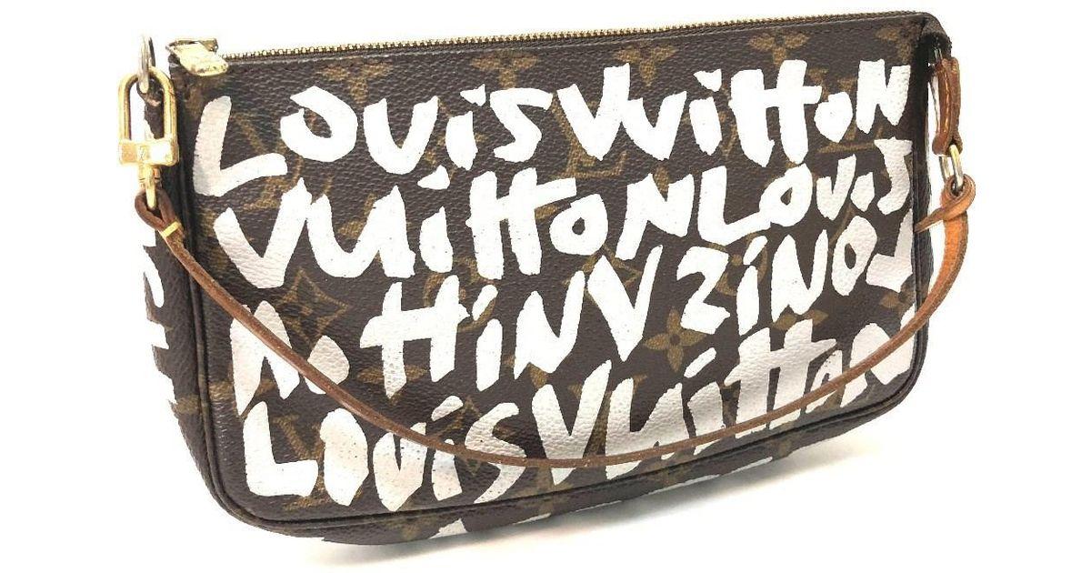 579d3efbe668 Lyst - Louis Vuitton Monogram-graffiti Pochette-accessoires Hand Bag  Accessory Pouch Silver Monogram Graffiticanvas M92192 in Brown