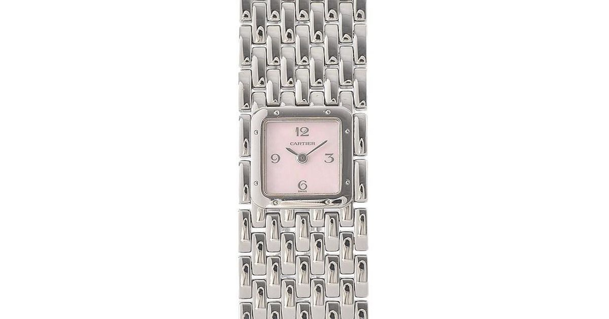 2bf0fd53bfc Lyst - Cartier Panthere Ruban Women s Pink Shell Dial Stainless Steel Quartz  in Metallic
