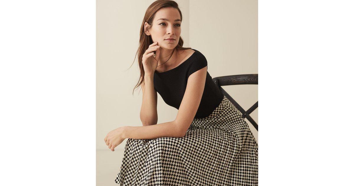 4551a1c85ed Lyst - Reiss Zena - Knitted Bardot Top in Black
