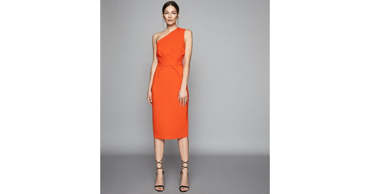 8fe4e8eb2b4 Reiss Laurent - One Shoulder Slim Fit Dress in Orange - Lyst