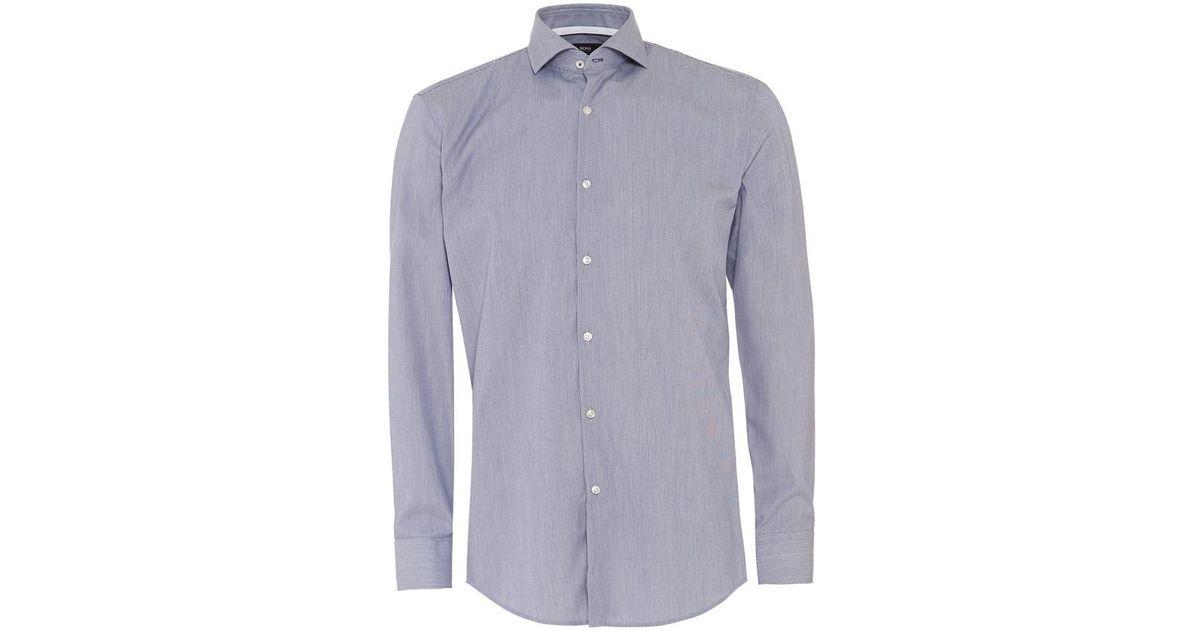 df48f0ee4 Lyst - BOSS Black Shirt Jery Dark Blue Stripe Slim Fit Shirt in Blue for Men