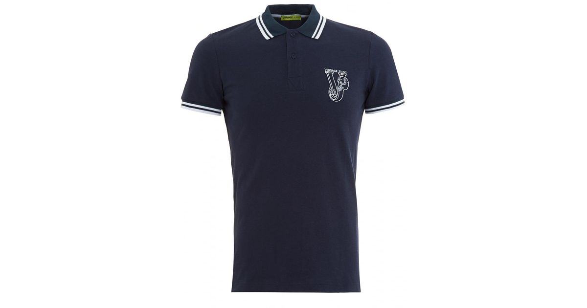 528eec2b0 Lyst - Versace Jeans Large Logo Tipped Navy Polo Shirt in Blue for Men