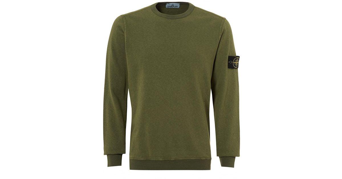 Stone Island Garment Dyed Sweatshirt In Green