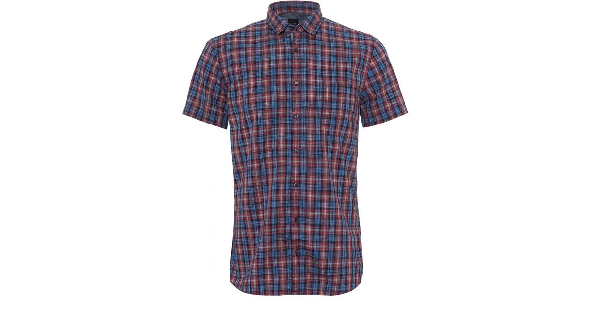 05ad2e249 BOSS Cattitude 1 Short Sleeved Shirt, Small Check Blue Pink Shirt in Blue  for Men - Lyst