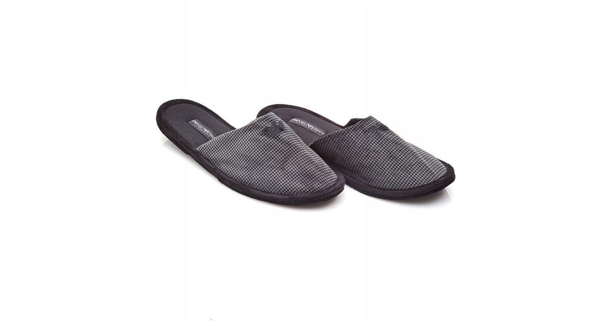 ae2eb2a1e98d Lyst - Emporio Armani Grey Houndstooth Slip-on Mule Slippers in Gray for Men